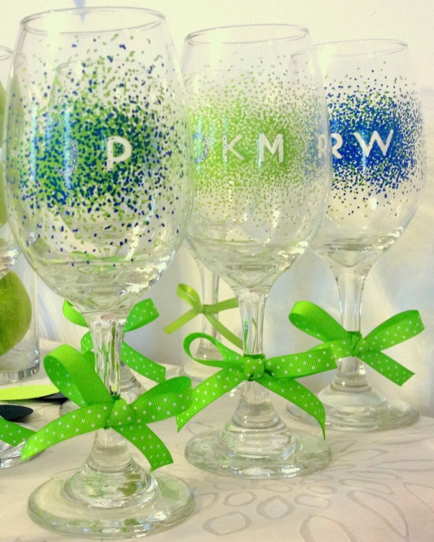 Navy blue and lime green bachelorette party february sky for How to decorate wine glasses with sharpies